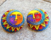 Bhanumati - Sun Motif Rare Fabric Button Earrings. LARGE. 1.5 INCHES. Rare Fabric. Stainless Steel Posts. Lead Free. Nickel Free
