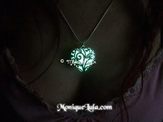 Aqua Heart of Forest Frozen Winter Glow in the Dark Statement Necklace