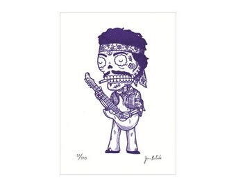 Jimi Hendrix Calavera Limited Edition Gocco Screenprint Day of the Dead