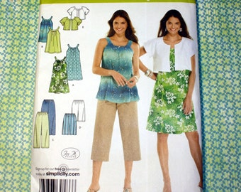 UNCUT Simplicity 3799 Pattern - Dress or Tunic, Cropped Pants or Shorts & Jacket, Size XXS, XS, S and Medium