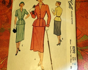 Vintage McCall 8292 Pattern, Tailored Fit Two Piece Dress Suit, Size 18, Bust 36