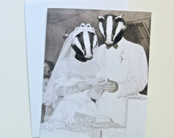 Wedding Card -  Badger Love  - Blank card