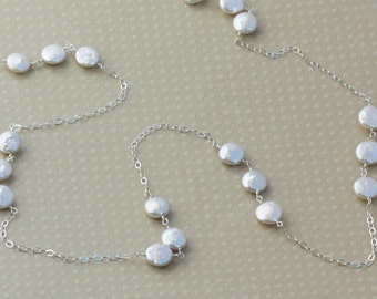 Long Coin Pearl Necklace, Silver or Gold, Beach Wedding Jewelry, Beachy Bridal, Unique Gifts for Her, Coin Pearl Jewelry