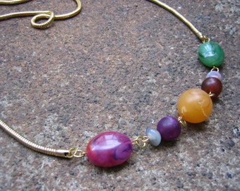 Eco-Friendly Statement Necklace - Wanderlust - Recycled Vintage Snake Chain and Purple, Green and  Honey- Colored Faux Stone Beads