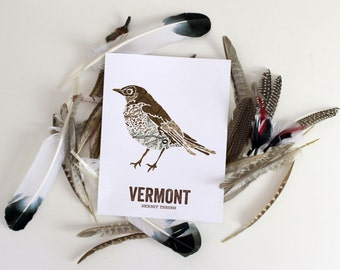 Nature inspired illustrations for outdoor by woodenpencilco vermont state bird nature art outdoor art vintage map art art print sciox Image collections
