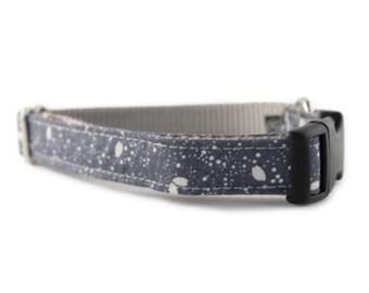 Gray Dog Collar - Gray Stardust Dog Collar - Adjustable Dog Collar - Gray and White Collar - Sophisticated Pup