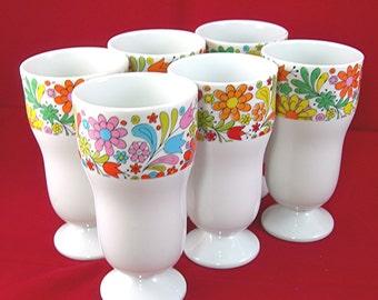 Parfait Dishes, White China, Set of 6, Flower Power Design, Vintage c1960s, Made in Japan, Sundaes, Milkshakes, Puddings, Childs Party
