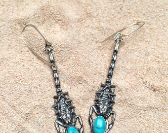 scorpion and turquoise earrings