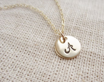 Cursive gold initial necklace, personalized necklace, gold disc, custom initial, gold monogram necklace, grandma necklace, mothers necklace