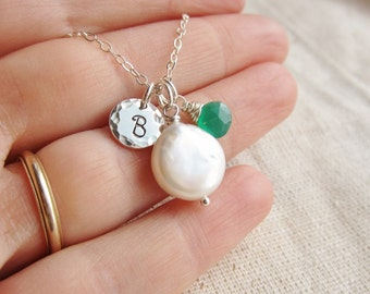 May birthstone necklace, personalized necklace, silver initial necklace, coin pearl necklace, May birthday necklace, mothers necklace gift