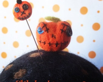 Stitched Up Jack-O-Lantern Pin Topper