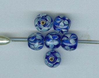 Special Close Out 18 Cobalt Blue Flowery Swirled Vintage Czechoslovakian Glass Beads