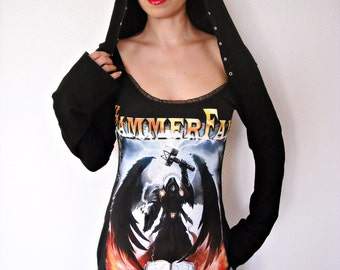 Hammerfall shirt Hoodie hooded tunic top heavy metal clothing alternative apparel reconstructed altered band tee t-shirt