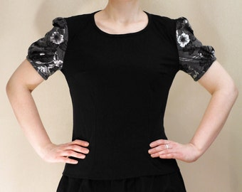 Black floral shirt, black and grey-silver flower print t-shirt with puff sleeves, gothic, flowers boho chic urban, everyday shirt MASQ