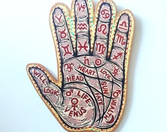 Occult Art, Palm Reading Chart Painted Woodblock Print on wood, ready to hang wall decor, Made to Order