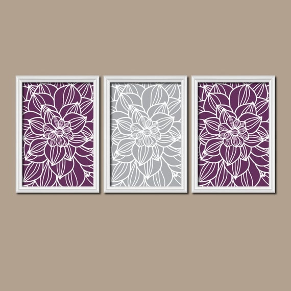 purple gray wall art canvas or prints purple bathroom by trmdesign. Black Bedroom Furniture Sets. Home Design Ideas
