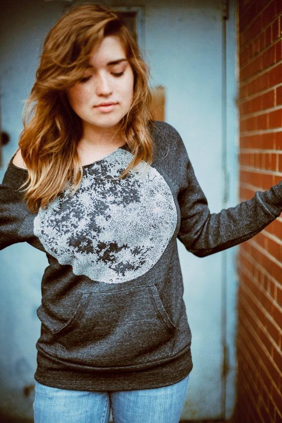 Womens moon sweatshirt, off the shoulder sweater, womens slouchy top, fleece pullover, womens raglan, kangaroo pocket, moon shirt for her