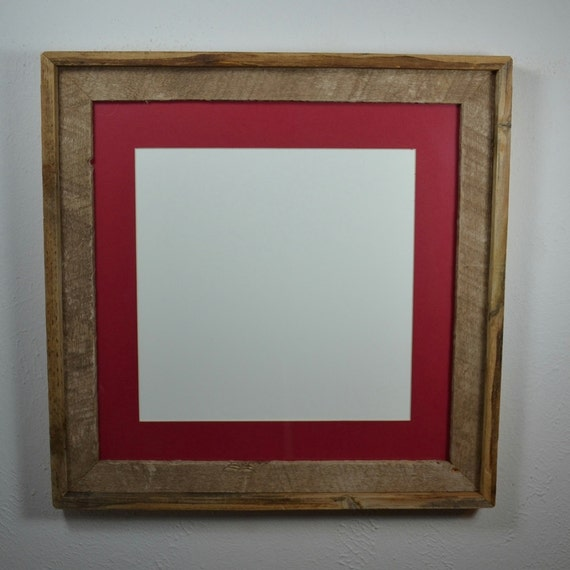 16x16 Reclaimed Barnwood Frame With Red 12x12 Mat By
