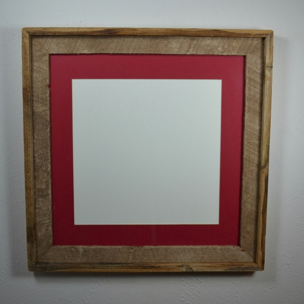16x16 Reclaimed Barnwood Frame With Red 12x12 Mat