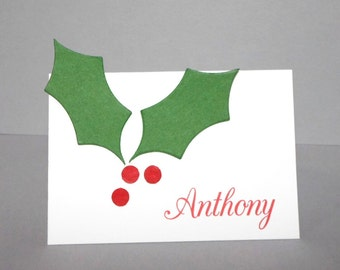 Christmas Place Cards - Holly Table Name Cards - Personalized Name Cards for Christmas Dinner Party - Holiday PlaceCards - Seating Cards