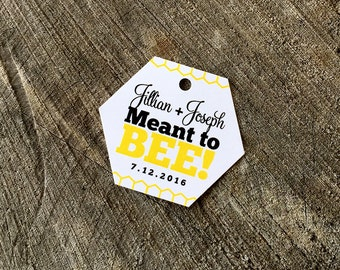 Bee Hive Style Favor Tags - Honey Bee thank you tags - Hexagon Honey Comb wedding shower tags - Bees Wax Candle Favor Tag - Set of 50