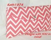 Coral Clutch - Bridesmaid Clutch - SALE - Fold Over Envelope Clutch - Premier Prints - Cosmo Chevron in Coral (Coral & White) - Gift Idea