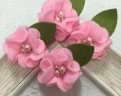 New! 4pcs Handmade soft felt flowers--pink (FT1031)