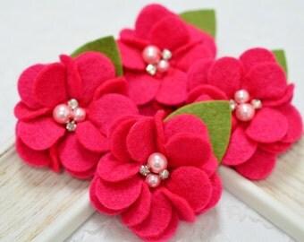 New! 4pcs Handmade soft felt flowers--sk. pink (FT1031)