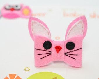 New! Set of 6pcs handmade felt bunny bows--baby pink (FT1034)