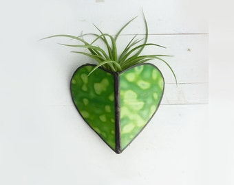 Air Plant Holder - Stained glass Heart Sconce -Mottled Green