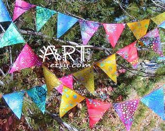 Gypsy Rainbow All Batik Mini Flag Garland 12 Feet  (3.66 m)