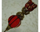Victorian Style HATPIN - RUBY Red Glass CAT Head Bead  -  Vintage Findings
