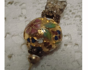 Victorian Style HATPIN - Lge. Gold Enameled CLOISONNE  BEAD - Glass CaT BeAD - Vintage Findings