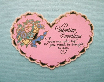 Vintage 1920's Valentine's Day Card Pink and Black Heart Unused
