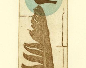 Feather and bird art print, feather wall art, blue dot, bird wall print, hand printed art, limited edition art, bird art, feather art