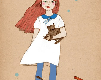 Cat Girl 2  deluxe Print of original drawing redhead girl with cats