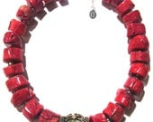 Caprice Designs, Bamboo Red Coral, Nepalese Brass, Inlaid Natural Turquoise, Sterling Silver, Necklace