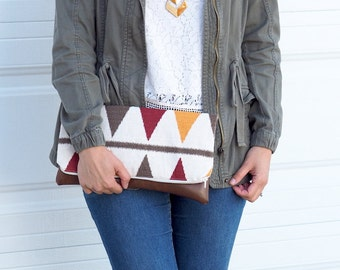 Foldover Clutch - Southwestern Print Foldover Clutch Purse - Vegan Leather Clutch - Brown Clutch - Zippered Clutch