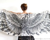 Wings scarf, bohemian bird feathers shawl, white, hand painted, digital print, sarong, perfect Valentine gifts