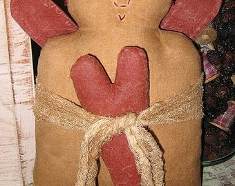 Velia EPATTERN-primitive country valentine cloth doll craft digital download sewing pattern-PDF - 1.99