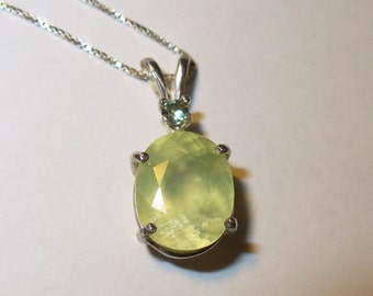 Natural Prehnite Gemstone Pendant Necklace in Sterling