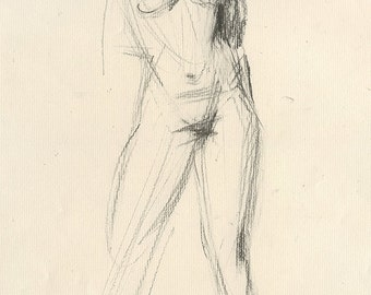 Original Charcoal Life Drawing of  Standing Strong Female Nude Figure