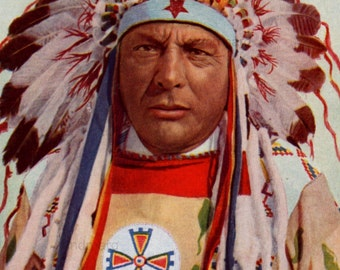 Blackfoot Chief Vintage Portrait  Photochrome Print