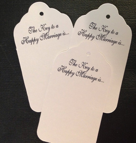 100 LARGE tags The Key to a Happy Marriage is