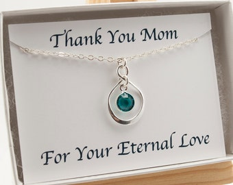 Thank You Mom Infinity Necklace, Mothers Day Birthstone Necklace Gift for Mom, December Birthstone Necklace, Eternity Necklace
