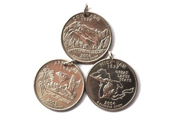 U.S. State Quarter Dollar Coin Necklace, Arkansas, Colorado, Michigan Pendant Jewelry by Hendywood CPQE22