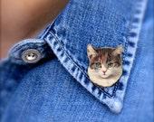 Color Cat Tiny Pin - Color Cat - Cat Tiny Pin - Cat Pin - Cat Brooch - Shrink Plastic - Kitty - Cat Jewelry - Brown Cat - Tiny Pin - Tiny