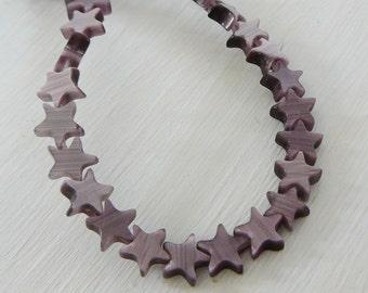 Purple Catseye Bead, 6mm Stars Patriotic mini strand jewelry making supplies