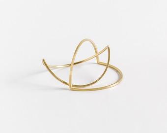 Minimalist Gold Bangle Bracelet , Geometric Bangle, Thin Gold Bangles, Double Arc Bangle