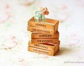 Dollhouse Accessories - Herb Wooden Vintage Crates- Peach